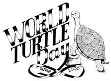 Światowy dzień turtle_enviroment protection_monochrome ilustracja ilustracja wektor
