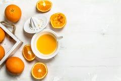 Świeże pomarańcze w tacy i juicer zdjęcia royalty free