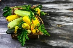 Świeży organicznie lat warzyw zucchini w pucharze na nieociosanym drewnianym tle Odgórny widok, miejsce dla teksta obraz royalty free