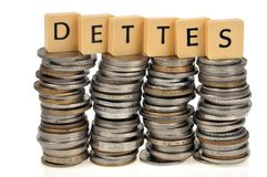 债务概念用法语 免版税库存照片