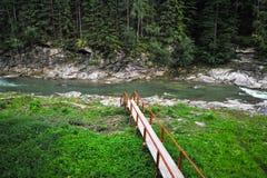 喀尔巴阡山脉的乌克兰山河与在前景的桥梁 库存图片
