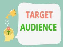 Åhörare för mål för ordhandstiltext Affärsidé för kategori av folk som du önskar att tilltala dina ord till stock illustrationer