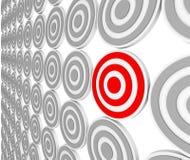 åhöraretjurar eye det röda målet för marknadsniche en Arkivfoton