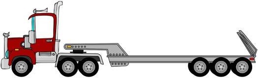 Åka lastbil & det lowboy släpet Arkivbild