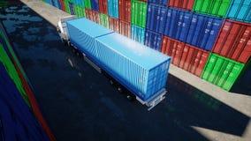 Åka lastbil i behållarebussgaraget, lagret, hamnstad framförd behållarebild för last 3d Logistiskt och affärsidé framförande 3d Royaltyfria Bilder
