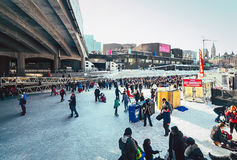 Åka skridskor för Ottawa's Rideau kanal Fotografering för Bildbyråer