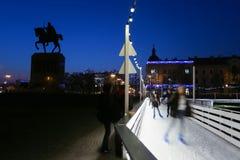 Åka skridskor isbanan i konungen Tomislav Park Fotografering för Bildbyråer