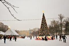 Åka skridskor isbanan i Moskva Arkivfoton
