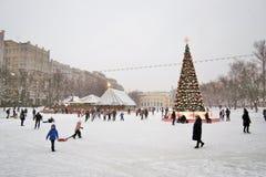 Åka skridskor isbanan i Moskva Royaltyfria Bilder