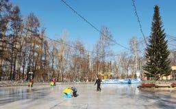 Åka skridskor isbanan i staden parkera i den Kemerovo staden Royaltyfri Bild