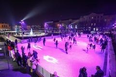 Åka skridskor isbanan i Zagreb Royaltyfri Bild