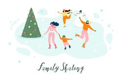 Åka skridskor med familjen på begrepp för vektor för isisbana vektor illustrationer