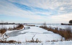 Åka skridskor på ett djupfryst naturligt damm i Nederländerna Fotografering för Bildbyråer