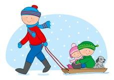 Åka släde för familj stock illustrationer