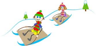 åka släde för ungar stock illustrationer