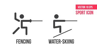 Åka vattenskidor och fäkta symbolen Ställ in av linjen symboler för sommarsportvektorn idrottsman nenpictogram stock illustrationer