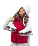 Åker skridskor hållande is för den unga kvinnan för vinterskridskoåkning Arkivfoton