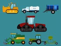 Åkerbruk industriell illustration för vektor för sammanslutningar och för grävskopor för traktorer för maskineri för lantgårdutru Royaltyfria Foton