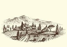 åkerbruk liggande royaltyfri illustrationer