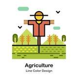 Åkerbruk linje färgsymbol royaltyfri illustrationer