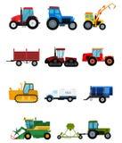Åkerbruka industriella sammanslutningar för traktorer för maskin för skörd för lantgårdutrustning och illustration för maskinerig Royaltyfri Bild