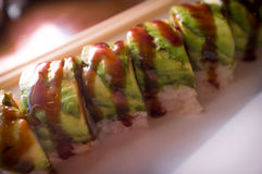 Ål Avacado Dragon Roll Arkivbild