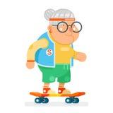 Ålder för livsstil för sund farmor för sportar som aktiv åker skridskor för designvektor för gammal dam Character Cartoon Flat il royaltyfri illustrationer
