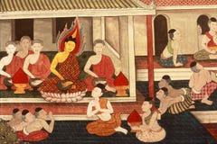 Åldern för vägg- målning över åriga 150, folk betalar respekt till lord buddha Royaltyfri Foto