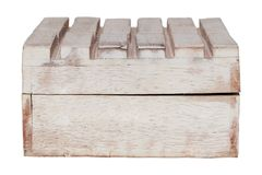Åldrades träridit ut gammalt för Closeuptappningtextur den tomma stängda rektangulära askcasketen som isolerades på vit bakgrund  arkivbild