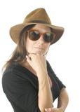åldras den gulliga head medelståenden sköt studiokvinnan Royaltyfria Bilder