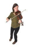 åldras den mitt- leka violonkvinnan Royaltyfri Bild