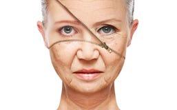 Åldras för begreppshud anti--åldras tillvägagångssätt, föryngring och att lyfta, åtdragning av ansikts- hud Arkivbild