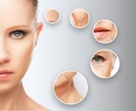 Åldras för skönhetbegreppshud anti--åldras tillvägagångssätt, föryngring och att lyfta, åtdragning av ansikts- hud royaltyfria foton