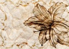 Åldras pappers- textur för tappning blomma Arkivbilder