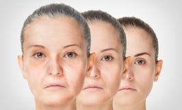 Åldras process, anti--åldras hudtillvägagångssätt för föryngring arkivfoto