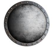 Åldras sköld för metall som runda isoleras på vit royaltyfria foton