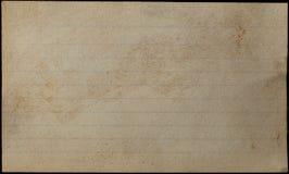Åldrats och gulnat indexkort arkivfoto