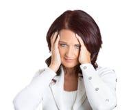 Åldrig affärskvinna för olycklig stressad mitt Arkivbild