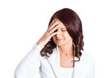 Åldrig affärskvinna för olycklig stressad mitt Royaltyfria Foton