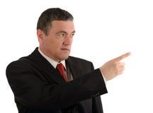 Åldrig affärsman som gör isolerade olika gester på vit backg Royaltyfri Foto