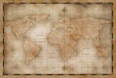 Åldrig eller gammal världskartastylization vektor illustrationer
