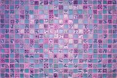 Åldriga små mosaiktegelplattor för rosa färger Arkivbilder