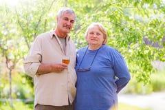 Åldrigt gift par för mitt arkivfoton
