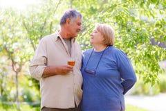 Åldrigt gift par för mitt Arkivbilder