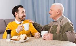 Åldring fader och sonfrukost royaltyfria foton