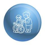 Åldring i bakgrund för begrepp för hjulstol, översiktsstil vektor illustrationer