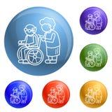 Åldring i bakgrund för begrepp för hjulstol, översiktsstil stock illustrationer