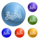 Åldring på cykelbegreppsbakgrund, översiktsstil vektor illustrationer