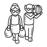 Åldring på shoppingbegreppsbakgrund, översiktsstil stock illustrationer