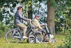 Åldring som har en ritt i ett mest forrest, Tilburg, Nederländerna royaltyfri bild